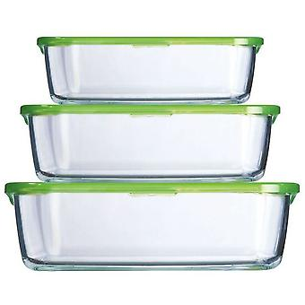 Luminarc 3 Straight lidded containers KEEP n Box