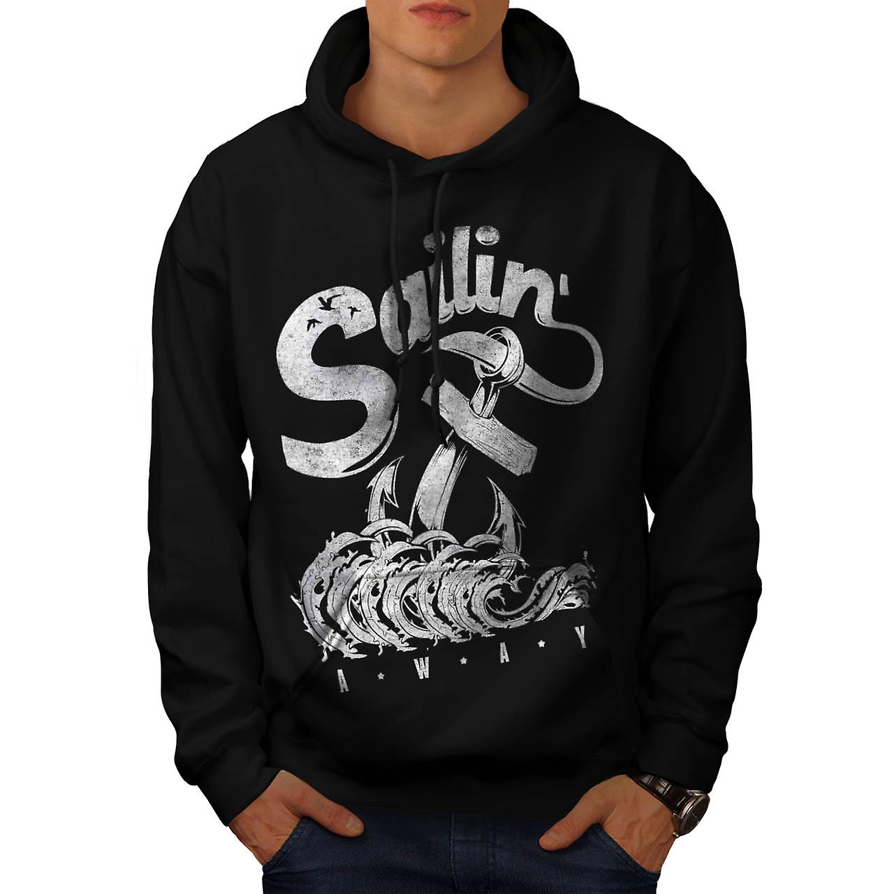 Sailing Away Sea Song Anchor Eye Men Black Hoodie | Wellcoda
