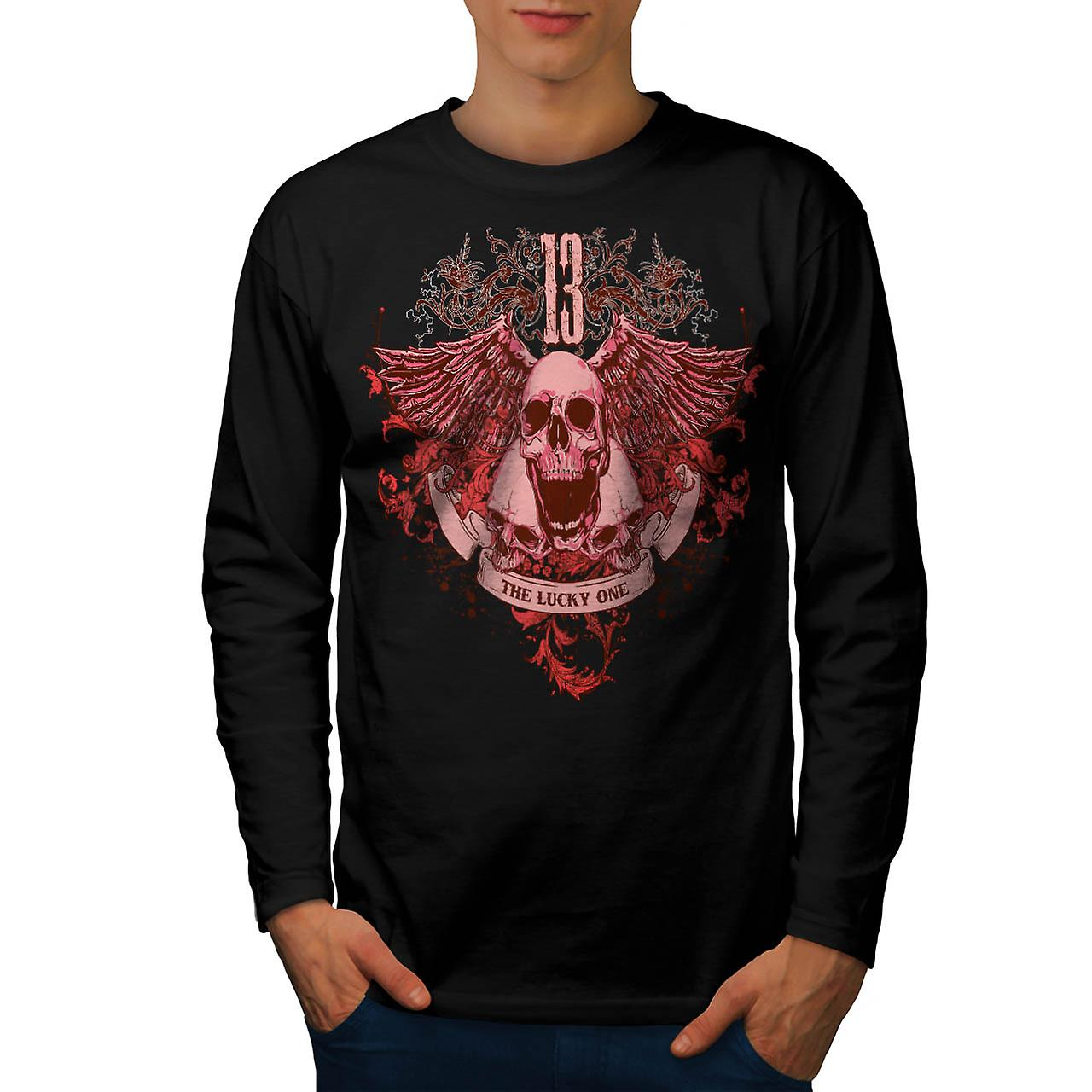 13 The Lucky One Skull Men Black Long Sleeve T-shirt | Wellcoda