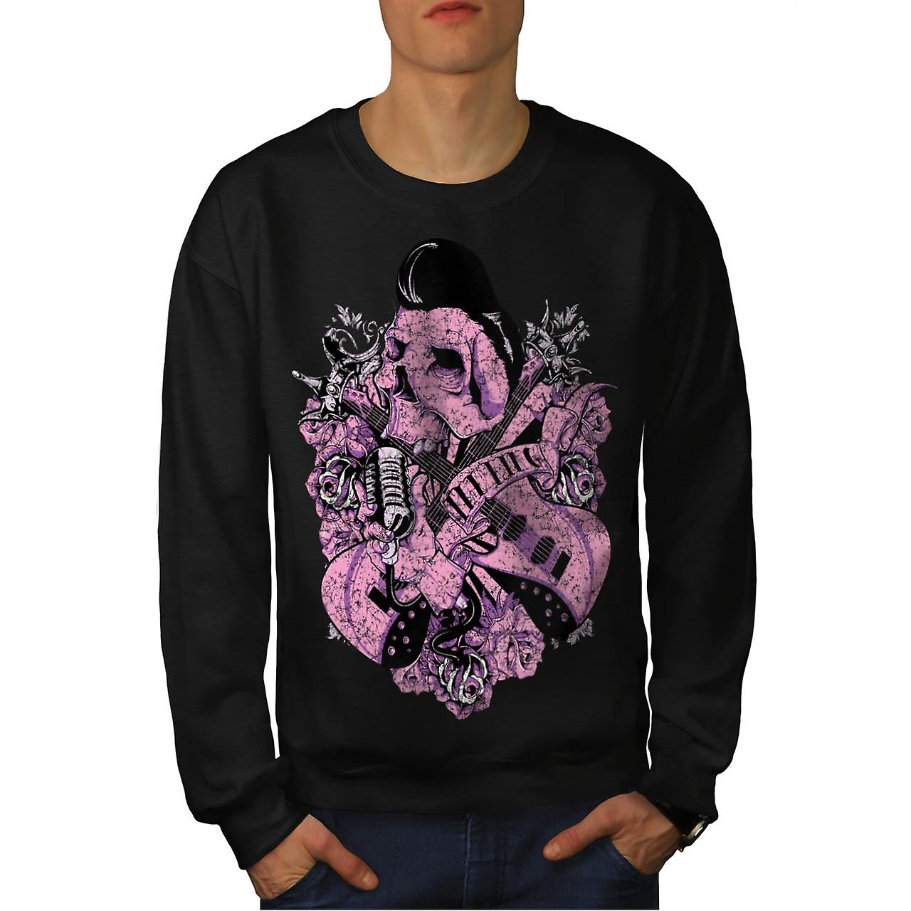 Music Guitar Skull Acoustic Song Men Black Sweatshirt | Wellcoda