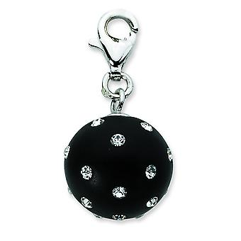 Sterling Silver Click-on Black Ferido and Crystal Ball Charm - Measures 24x12mm