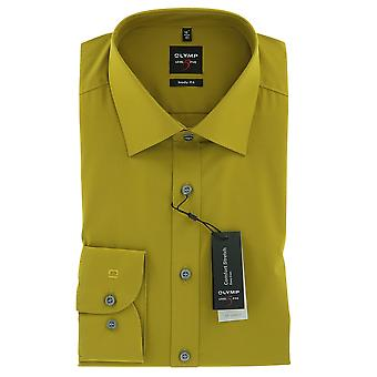 Mount Olympus level five body fit shirt 37 S long sleeve Poplin stretch mustard-yellow