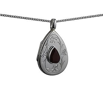 Silver 28x19mm hand engraved Garnet set flat teardrop Locket with a curb Chain 18 inches