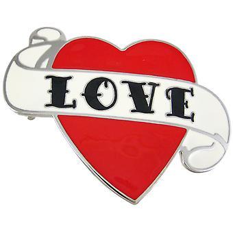 Tattoo Style LOVE Heart Enamel Belt Buckle