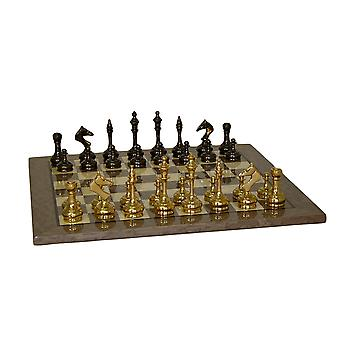 Brass Slim Men Chess Set With Grey Briar Board