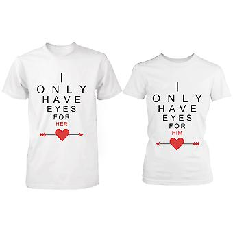 Cute Matching White Cotton Couple T-Shirts - I Only Have Eyes for My Love