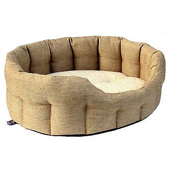 Premium Oval Drop Front Softee Bed Basketweave Beige Size 2 41x36x20cm