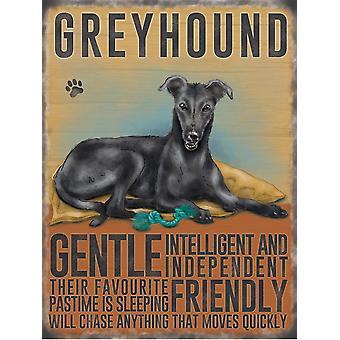 Medium Wall Plaque 200mm x 150mm - Black Greyhound