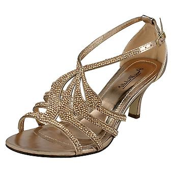 Ladies Anne Michelle Mid Heel Diamante Sandals F10580