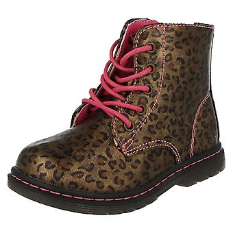 Infant Girls Spot On Funky Printed Ankle Boots H4109
