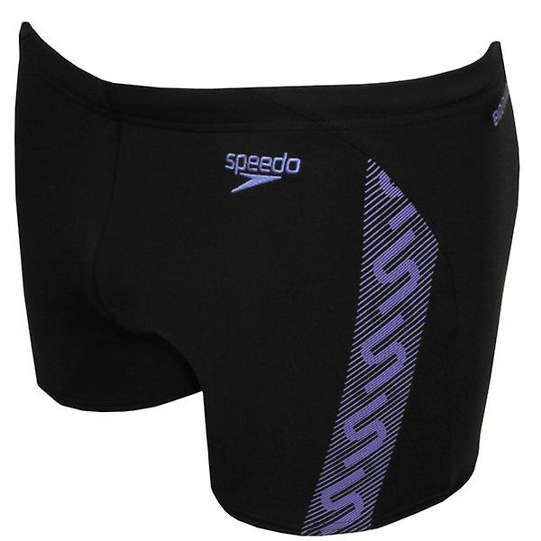Speedo Endurance+ Monogram Aqua Short, Black/Sport Purple