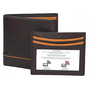 Dents Smooth Credit Card Holder and RFID Blocking Wallet Gift Set  - Chocolate/Orange