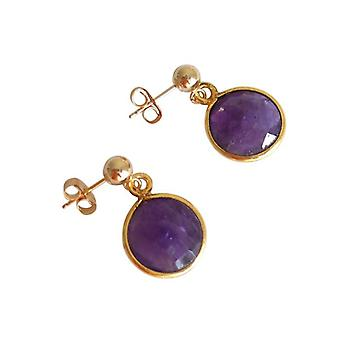 Amethyst earrings with Amethyst silver gold plated approx 2 cm