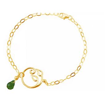 Women - bracelet - 925 Silver - gold plated - grape leaves - Peridot - drip - green - YOGA