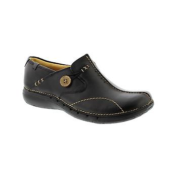 Clarks Un Loop Wide Fit - Black Leather Womens Shoes Various