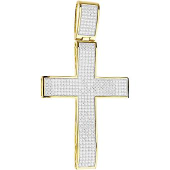 Premium Bling - 925 sterling silver XL cross pendant-gold