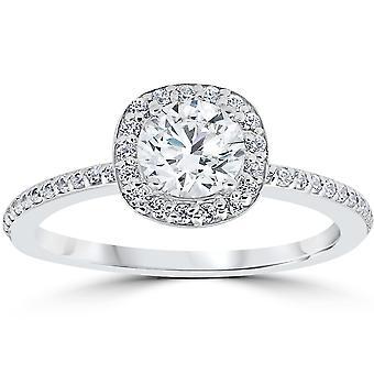 1ct Diamond Engagement Ring Cushion Halo 14K White Gold