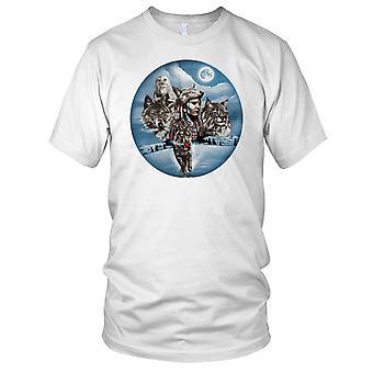 Wolf Eule indische Katze surreale Hunter Biker Kinder T Shirt