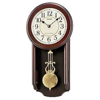 Seiko Dark Wooden Quartz/Battery Wall Clock Hourly Chime and Pendulum