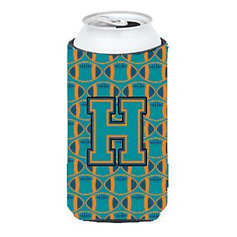 Letra H fútbol Aqua, naranja y marino azul chico alto bebidas Hugge aislador