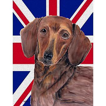 Dackel mit englischen Union Jack britische Flagge Fahne Leinwandgröße Haus
