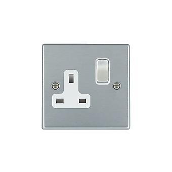 Hamilton Litestat Hartland Satin Chrome 1g 13A DP Switched Socket SC/WH