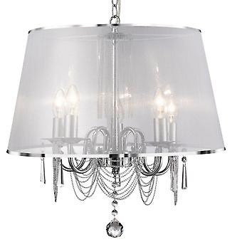 Venetian Chrome And Crystal Five Light Ceiling Light With Shade - Searchlight 1485-5cc