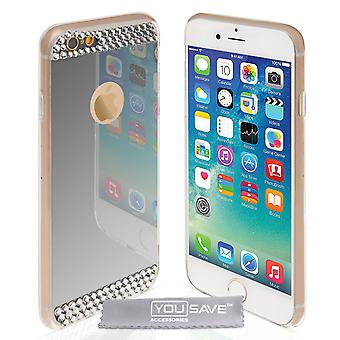 Yousave Accesorios Iphone 6 y 6s espejo diamante caso - plata