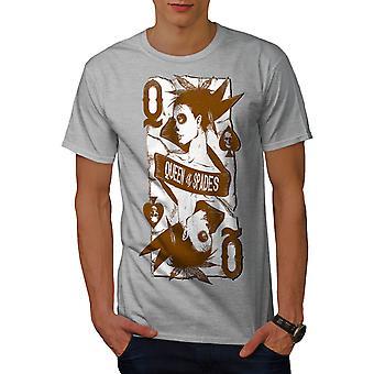 Queen Of Spades Men GreyT-shirt | Wellcoda