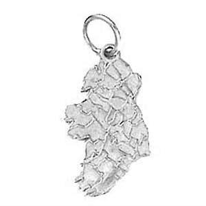 Silver 19x13mm Map of Ireland Pendant