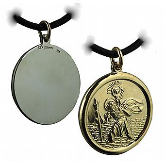14ct Yellow gold on Silver 26mm round solid St Christopher Pendant with a Leather Pendant Cord 24 inches