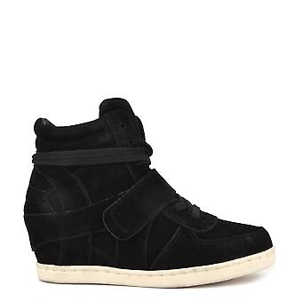 Ash Footwear Kids' Babe Black Suede Wedge Hi-top Trainer