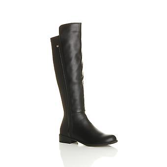 Ajvani womens low heel stretch zip riding smart contrast calf knee boots