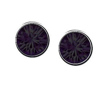 Womens Girls Small Crystal Stud Earrings Jewellery Dark Purple