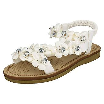 Ladies Savannah Flower Trim Sandals F00136
