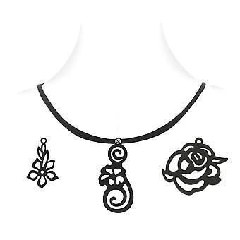 Floral Cabinet Frau - Schwarz 3 Anhänger Halskette Silikon