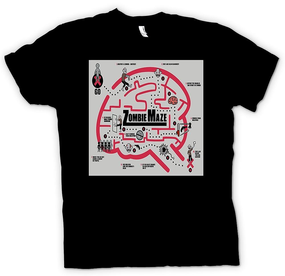 Mens t-shirt - Zombie Survival labirinto - divertente