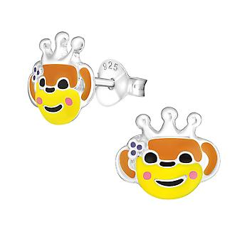 Monkey - 925 Sterling Silver Colourful Ear Studs - W18984x