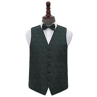 Emerald Green Paisley Wedding Waistcoat & Bow Tie Set