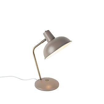 QAZQA Modern Table Lamp Grey with Bronze - Milou