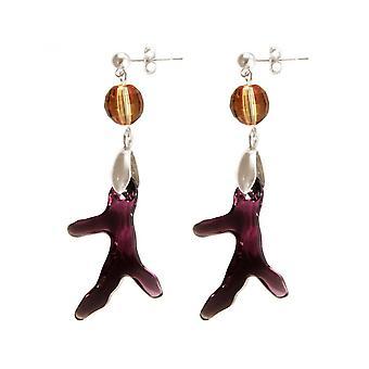 Ladies - earrings - 925 Silver - coral - violet - Orange - 3.5 cm