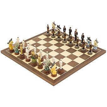 The Pearl Harbour Second world war hand painted themed Chess set by Italfama