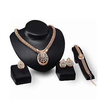 Beautiful Jewellery Set Gold Tone Earring Necklace Ring Package