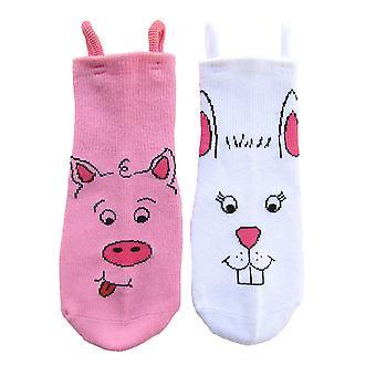 Piggy & Bunny EZ SOX Socks - 2 Pairs, 2 to 3 Years