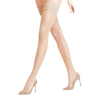 Falke Seidenglatt 15 Den Stay Up Transparent Stockings - Cocoon Beige