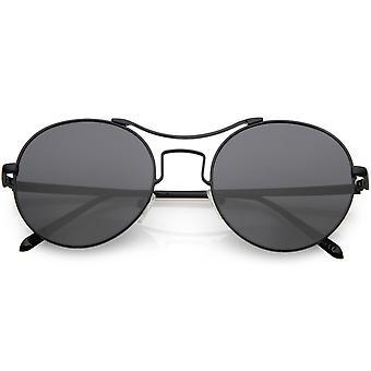 Kvinners moderne slank Metal runde solbriller rundt Flat linsen 54mm