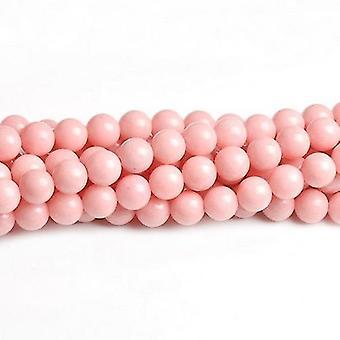 Strand 95+ Pale Pink Mashan Jade 4mm Dyed Plain Round Beads CB41700-3