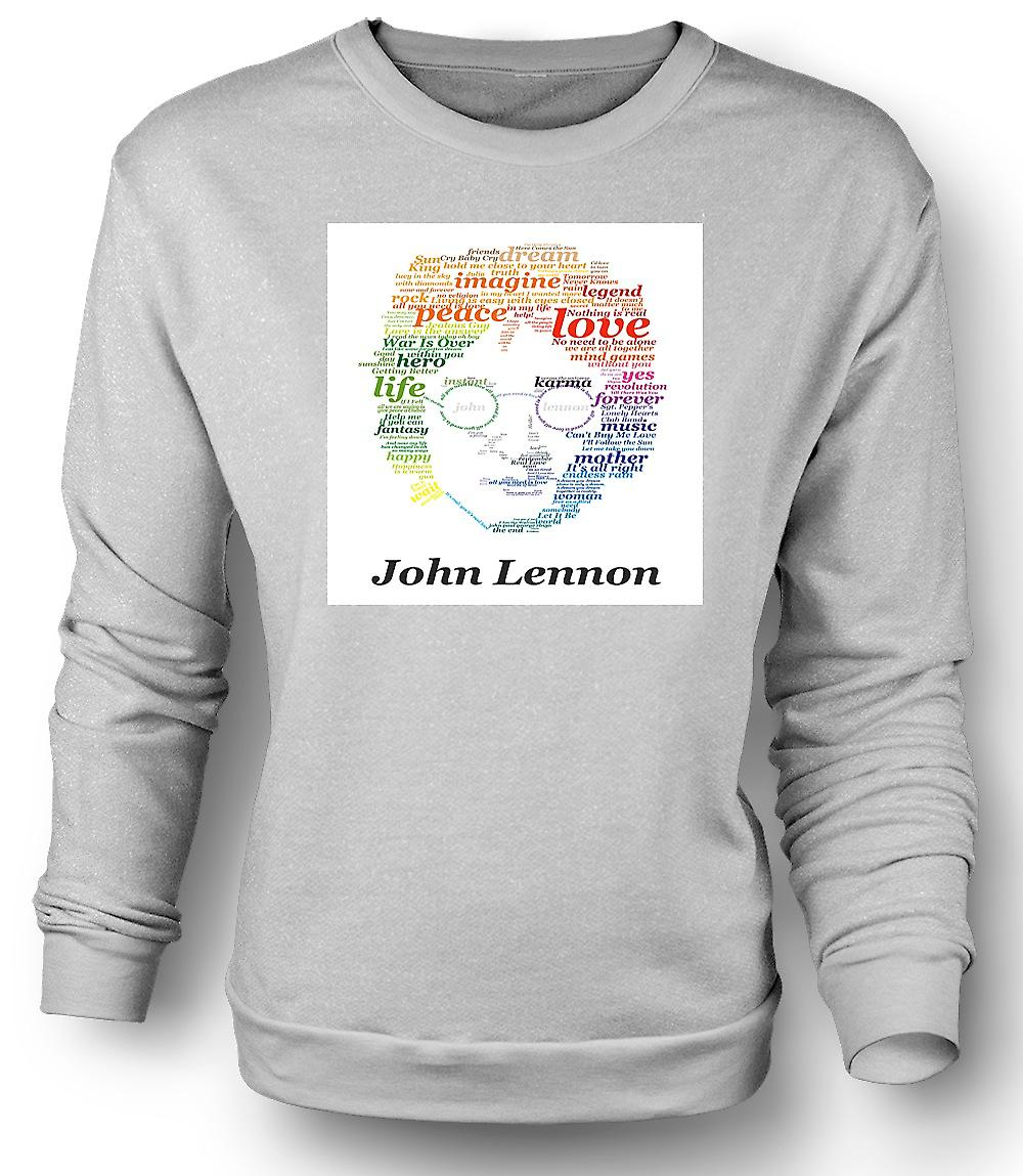 Mens Sweatshirt John Lennon Lyrics On Face