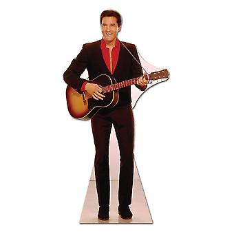 Elvis in Red Shirt with Guitar - Lifesize Cardboard Cutout / Standee