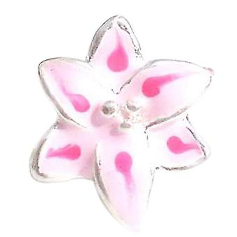 Toc Beadz Pink Lily Flower 11mm Enamel Slide-on Bead